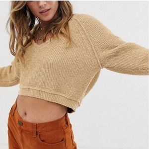 Free People V-Neck High Low Slouchy Sweater S